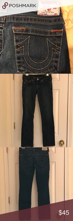 True Religion Johnny Straight Jeans Low rise, almost skinny, a little stretch and in excellent condition.  A little wear on cuffs and inside pockets. True Religion Jeans Straight Leg