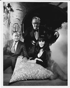 Robert Bloch, Forrest J. Ackerman, and San Diego horror host Moona Lisa