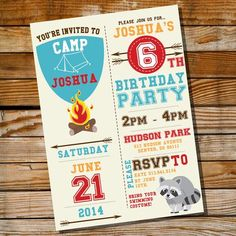 Camping Party Invitation for a Boy