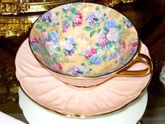 SHELLEY Cup and Saucer SUMMER GLORY CHINTZ OLEANDER PEACH Footed Teacup #ShelleyChinaEngland