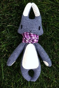 Grey Rabbit  Purple Scarf by AppleOrchardPlush on Etsy