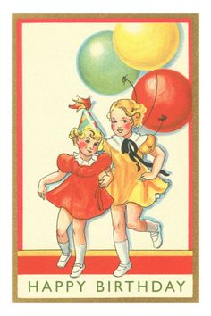 Sweet vintage birthday card with birthday party illustration. http://www.pinterest.com/kaatje1960/balloons-so-big/