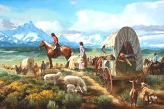 'On The Oregon Trail' - Jim Carson Studio  / 'O resistless restless race!  O beloved race in all! O my breast aches with tender love for all!  O I mourn and yet exult, I am rapt with love for all,  Pioneers! O pioneers!...' ~Walt Whitman, from 'Pioneers, O Pioneers!'   www.jimcarsonstudio.com/portfolio/1/on-the-oregon-trail-collection-booth-western-art-museum