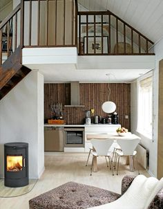 as usual, love the dark wood with the white. also love the slanted wood ceiling painted white and the little nooks. Home Fireplace, Wood Ceilings, Dream Decor, Home Fashion, Kitchen Interior, Room Inspiration, Home Kitchens, Home Remodeling, Home Goods