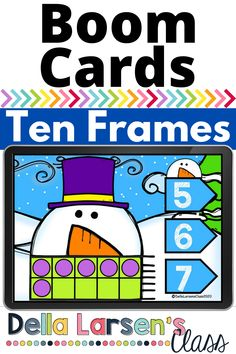 Boom Cards use snowman ten frames this winter to help build number sense. This cheerful snowman will make counting with ten frames fun this winter.