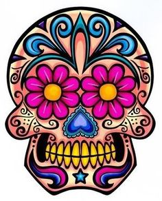 """Day of the Dead Decal Rockabilly Rock Vintage Sugar Skull Sticker. This is a Skull sticker in full color. It is made of vinyl. The decal measurements is X 4 """". Sugar Scull, Sugar Skull Art, Sugar Skull Tattoos, Dog Tattoos, Sugar Tattoo, Sleeve Tattoos, Tatoos, Dog Skull, Zealand Tattoo"""