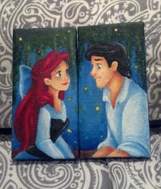 Two painted pictures of Ariel & Eric