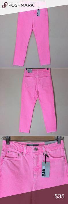 """TOPSHOP Moto Raw Hem Straight Leg Jeans Pink 26 TOPSHOP Moto Raw Hem Straight Leg Jeans Pink 26 NWT    Highlight your bold girl power in these bright pink stretch-denim jeans with a clean, straight leg and raw ankle-cut hem.  - Zip fly with button closure - Five-pocket style - Raw hem - 99% cotton, 1% elastane - Machine wash  Approximate Measurements: Waist- 13"""" Rise- 11 Inseam- 24.5  Size- 26x30. US size 4 Condition- New with tags Topshop Jeans Straight Leg"""