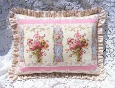 Stunning Pink Rose Victorian Cottage Romantic Shabby Chic Style Ruffle Pillow. $22.50, via Etsy.