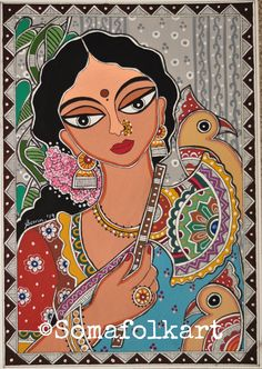 Art Painting Gallery, Mural Painting, Fabric Painting, Painting Tips, Watercolor Painting, Sketch Painting, Watercolor Flowers, Bengali Art, Rajasthani Art
