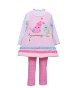 Pink Fleece Birds Ruffled Legging Set by Bonnie Jean Months & Toddler (24 Months). Adorable pink and blue birds appliqued on pastel pink fleece tunic top, with back zip closure. Pink polka-dot stretch leggings. Infant sizes has white bodysuit with pink lettuce edge neckline and wrists. Toddler sizes has white knit top, with pink lettuce edge neckline and wrists. Easy care, washable polyester. Runs true to size.
