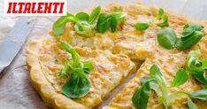 Tonnikalapiirakka on yksi vaivattomimmista suolaisista piirakoista. Vegetable Pizza, Food Inspiration, Food And Drink, Baking, Vegetables, Bread Baking, Patisserie, Bakken, Veggie Food