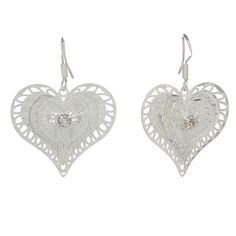 Wholesale Silver Plated Hollow Heart Shape Earrings 27x23mm shopping online,buy Earrings without Crystal