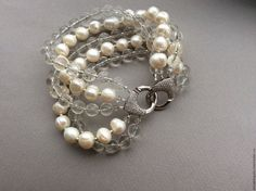 Bracelet CHARM rhinestone and Baroque pearl – shop online on Livemaster with shipping - 87WW3COM