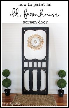Sharing a fun way how to paint an Old Farmhouse Screen Door to use in your decor. With a bit of a clean and some Fusion Mineral Paint - Coal Black and then waxed to seal in all your hard work. Full tutorial and supply list | www.raggedy-bits.com | #raggedybits #farmhouse #screendoor #fusionmineralpaint #coalblack #paint #oldwares #thrifted #repurpose #upcycle #DIY