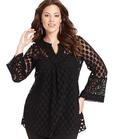 Alfani Plus Size Top, Three-Quarter-Sleeve Dot Lace Tunic