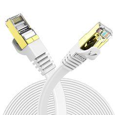 Veetop 20m Cable Ethernet Rj45 Plat Cat 7 Câble de Réseau 10 Gigabit/s Blanc Cable Ethernet, Home Appliances, Dish, House Appliances, Appliances