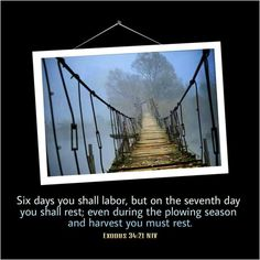 Exodus 34:21 NIV Six days you shall labor, but on the seventh day you shall rest;  even during the plowing season and harvest you must rest.