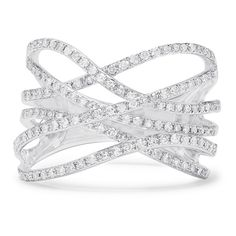 Effy Jewelry Effy Pave Classica 14K White Gold Diamond Cross Over... (1 970 AUD) ❤ liked on Polyvore featuring jewelry, rings, diamond jewellery, 14k diamond ring, pave jewelry, white gold jewellery and cross over ring