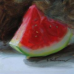 """A Slice of Watermelon"" - Original Fine Art for Sale - © Elena Katsyura"