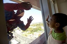 Window Cleaners At A Childrens Hospital dress as Superheroes for the kiddos.  Brought tears to my eyes!