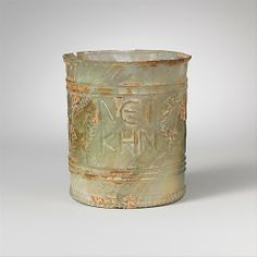 Glass beaker with inscription Period: Early Imperial, Julio-Claudian Date: 1st half of 1st century A.D. Culture: Roman Medium: Glass; blo...