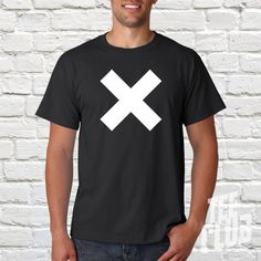X Tshirt Cross Letter tee Hipster shirt Band Tshirt by TeeClub