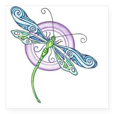 Whimsical Dragonfly Square Sticker x by EverIris - CafePress Dragonfly Drawing, Dragonfly Images, Dragonfly Painting, Dragonfly Decor, Dragonfly Tattoo Design, Dot Painting, Tattoo Designs, Bicycle Art, Quilling Patterns