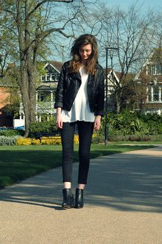 Warehouse Leather Jacket, H Black Skinny Jeans, Truffle Platform Chelsea Boots, New Look White Peplum Top