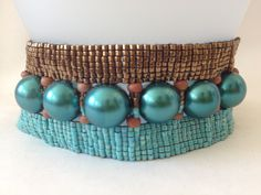 Turquoise and bronze loom beaded cuff bracelet