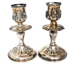 The Jewelry Lady's Store: Vintage Sterling Silver Repousse Pair Candlesticks...