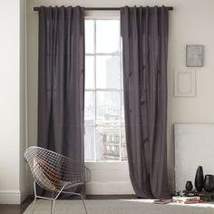 cotton canvas window panels - west elm - in steel - w, several lengths Window Drapes, Window Panels, Drapes Curtains, Curtain Panels, Bedroom Curtains, Dark Grey Curtains, Grey Walls, West Elm Curtains, Canvas Curtains