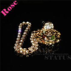 New Arrival 1PC Free Shipping Alloy With Colorful Rhinestonel Cute Rose Shape With Diamond Chain Anti Phone Dust Plug Decoration $2.86