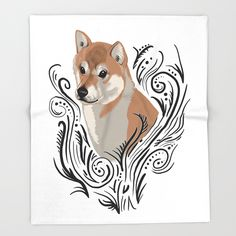 Shiba Inu #2 Throw Blanket    #illustration #drawing #cute #art #society6 #adorable #design #dog #dogs #puppy #doglover #animal #blanket #throwblanket #shibainu #shibe