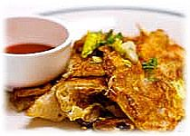 thai food : thai fried mussels with egg, หอยทอด