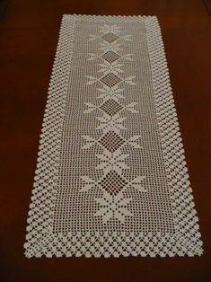 Learn To Crochet Turkish Stitch Reversible And Crochet Table Runner Pattern, Crochet Doily Patterns, Crochet Tablecloth, Crochet Chart, Filet Crochet, Crochet Doilies, Knitting Patterns, Diy Crafts New, Diy Crafts Crochet