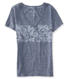 Floral Pieced V-Neck Tee -