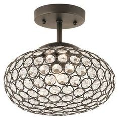 Master closet. Kichler Lighting Krystal Ice 9.65-in W Olde Bronze Crystal Crystal Accent Semi-Flush Mount Light
