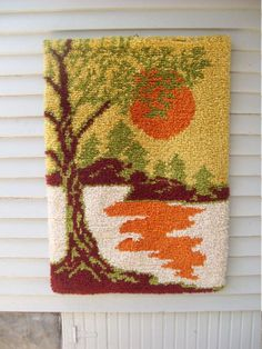By far, one of the coolest latch hook rugs I have ever seen! The colors are amazing. This rug has a mod mid century look to it. Estimate Has hook for hanging. Perfect for the lake house. 34 X 24 Thanks for coming by Weaving Art, Tapestry Weaving, Loom Weaving, Latch Hook Rugs, Donia, Yarn Thread, Wool Applique, Rug Hooking, Penny Rugs