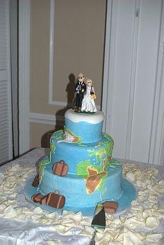 Travel Themed Wedding Cake Topper by lynnslittlecreations on Etsy, $30.00