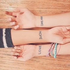 Best friend tattoo ideas that are everything but basic: Love. Hope. Dream.