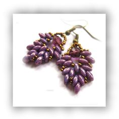Purple Leaf Earrings with Super Duo Beads