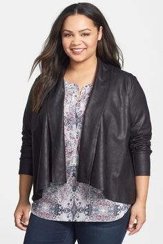 Coated French Terry Drape Front Jacket (Plus Size) by NYDJ on @nordstrom_rack