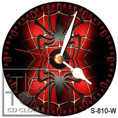 eBlueJay: S-810-W CD CLOCK SPIDERMAN TWO SPIDER LOGO / WITH WHITE HANDS