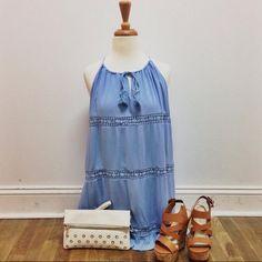 This gorgeous Carolina Blue halter dress just in!! #shoplocal #ShopFedora #carolinablue