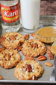 Chewy Butter Pecan Cookies w/ Pecan Pie Glaze. I used Karo Corn Syrup to get the best chewy texture Ive ever had! - Chewy Candy - Ideas of Chewy Candy Butter Pecan Cookies, Yummy Cookies, Cake Cookies, Cupcakes, Sweet Cookies, Homemade Cookies, Cookie Recipes, Dessert Recipes, Desserts