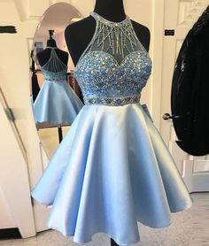 New Arrival A-Line Halter Blue Short Homecoming/Prom Dress with Beading