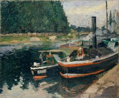Barges at Pontoise by Camille Pissarro