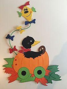 Fensterbild Tonkarton Rabe Kürbis Herbst Halloween Herbstdeko Dekoration