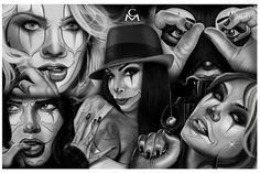Medina Flash by Charlie Medina Clown Women Tattoo Framed Art Print